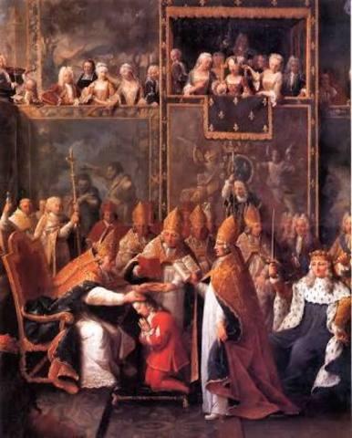 Luis XIV es coronado como Rey de Francia en la catedral de Reims