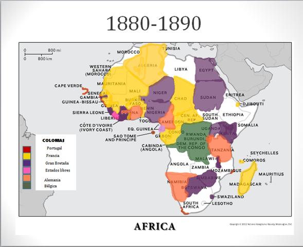 África y Oceanía dividida en colonias