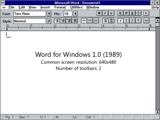 el primer word en windows