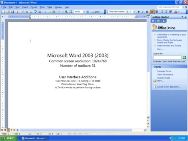 2003: Word 2003