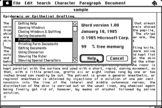 Primera version de Word para Macintosh