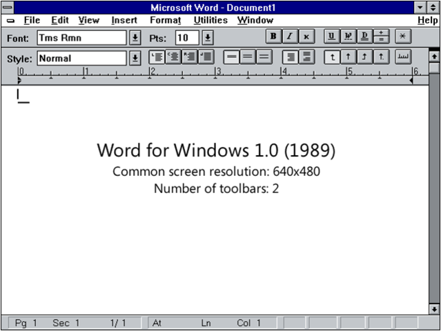 Primera version de Word para Windows