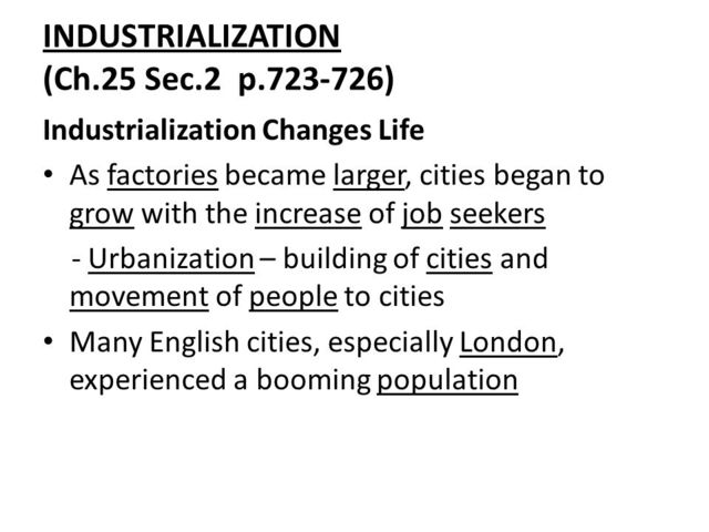Industrialization Begins to Boom