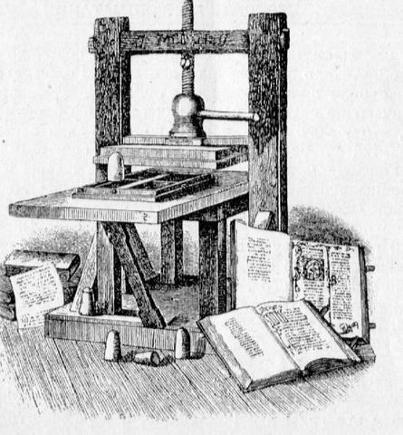 Германия. Иоанн Гуттенберг изобрел первый печатный станок, позволивший быстро и качественно размножать рекламные объявления