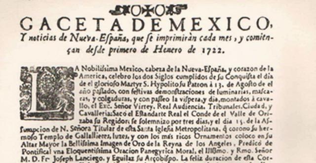 Primer periódico impreso en la Nueva España, actualmente México