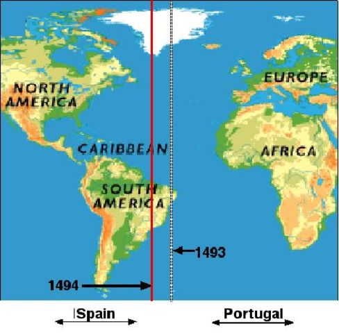 The Line of Demarcation divided the claims of Portugal and Spain