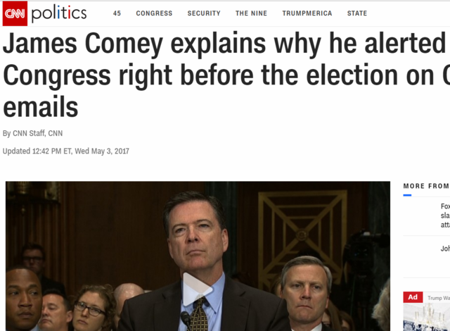 Comey Sends Letter To Congress