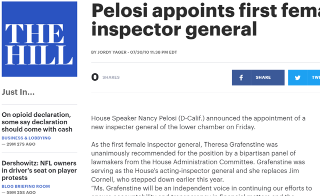 Nancy Pelosi Appoints Grafenstine First Woman House IG