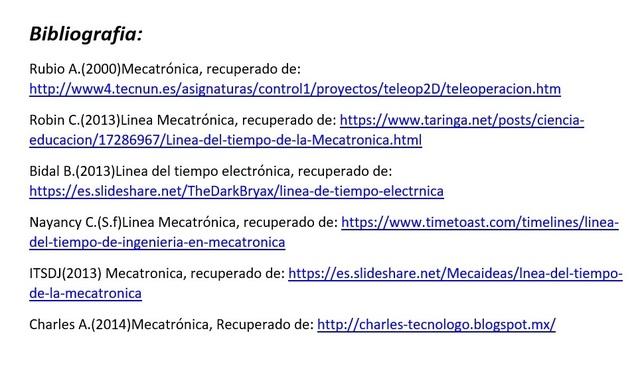 Linea del tiempo Mecatrónica 2017