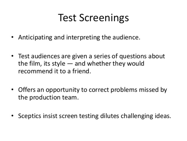 The technique of test screenings