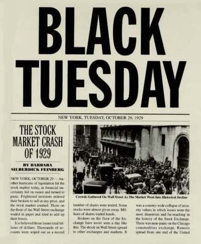 "•	Stock Market Crashes ""Black Tuesday"""