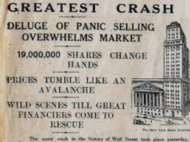 "Stock Market Crashes ""Black Tuesday"""