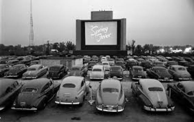 The first drive-in movie theater