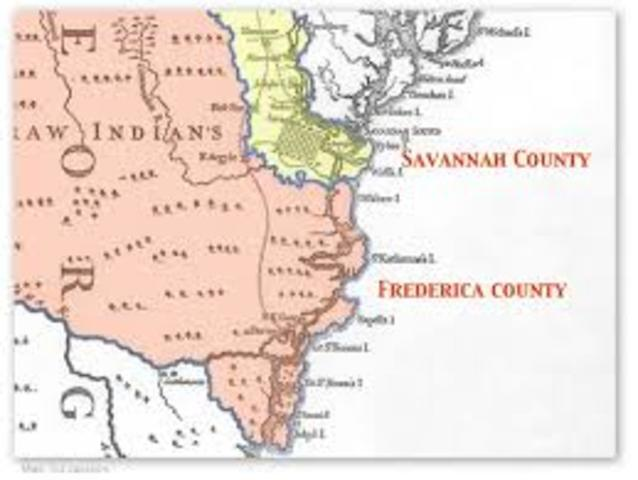 (1741) Trustees divided Georgia into two counties