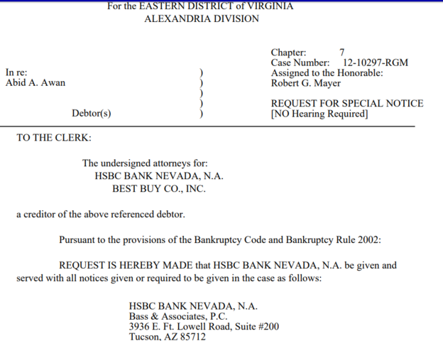 Abid Grant Bankruptcy - HSBC and Best Buy Are Creditors