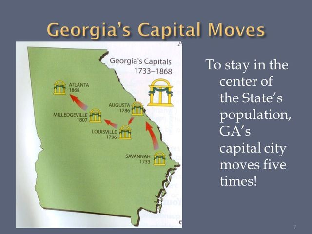 1807) The state capital moved to Milledgeville