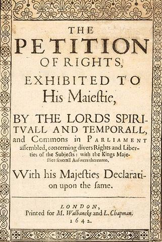 Charles I signed the Petition of Right in England.