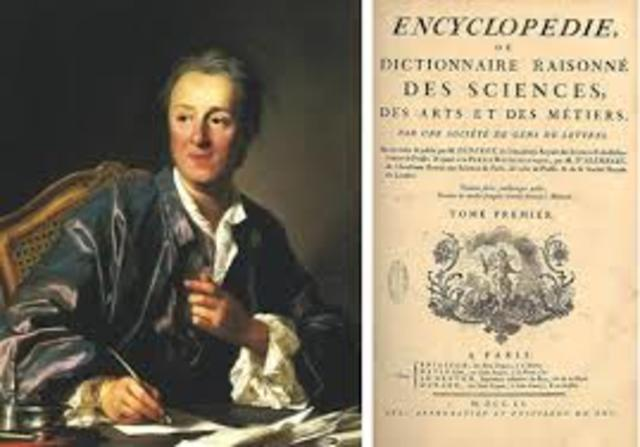 Denis Diderot published the first volume of the Encyclopedia - a collection of enlightened thinkers works.