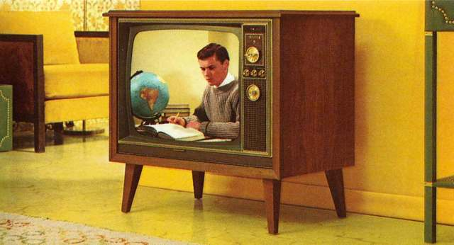 Color	television	was	introduced	into	 the	country.