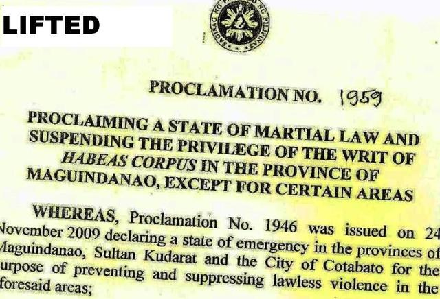 Lifting of Martial Law