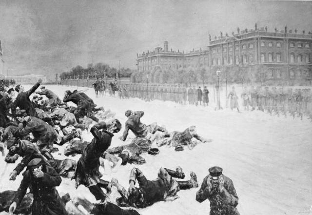 Bloody Sunday in St. Petersburg begins the 1905 Russian Revolution
