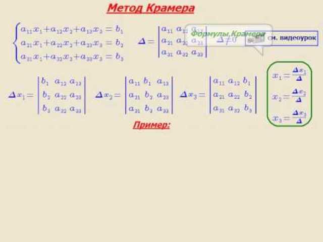Метод Крамера (правило Крамера)