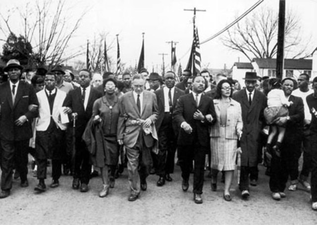 Civil Rights activists march from Selma to Montgomery for voting rights