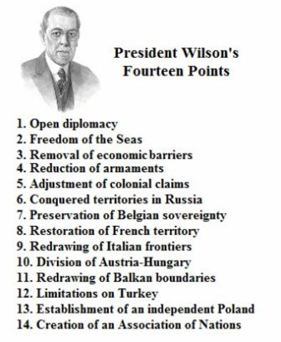 •	Woodrow Wilson's Fourteen Points
