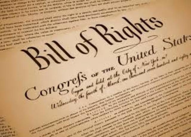 """""""The Bill Of Rigth"""" Declaración de los derechos."""