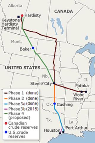 First Keystone Pipeline route