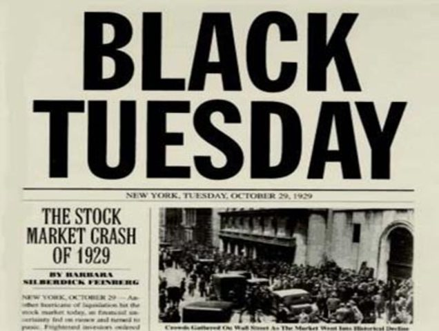 """•Stock Market Crashes """"Black Tuesday"""" ("""