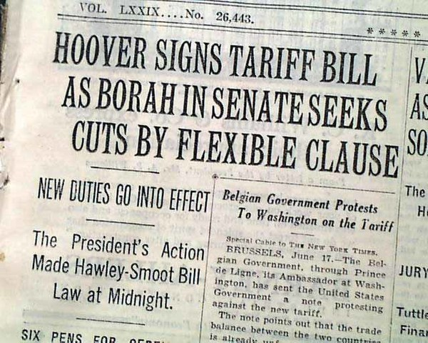 •	Smoot-Hawley Tariff