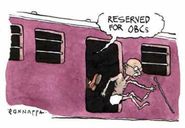 Gandhi gets thrown off of a train.