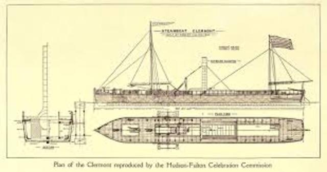 robert fulton build his first steamboat