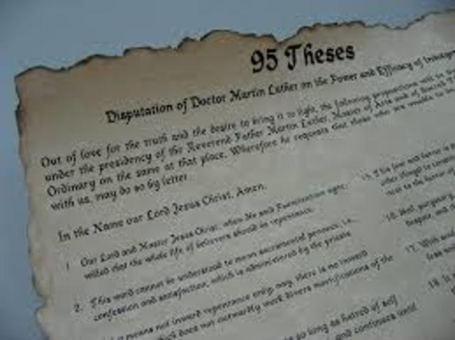Martin Luther nails the 95 theses to a churches door.