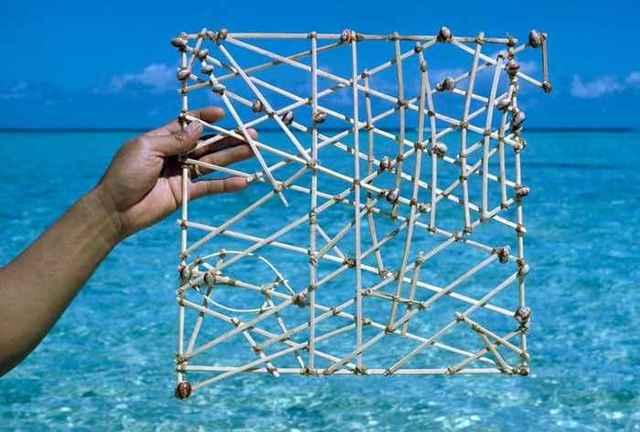 """Instrumentos de navegación de los polinesios """"Mapas o cartas marítimas de palos"""""""