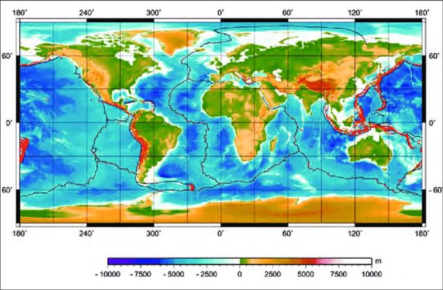 Primer mapa batimétrico del océano realizado por Sandwell y Smith.