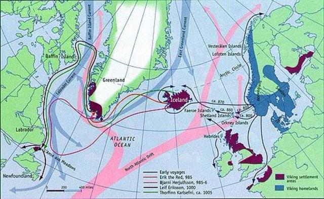 Los vikingos descubren Groenlandia y América.