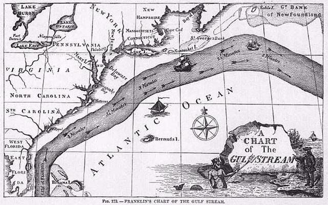 Primer mapa de la corriente del golfo