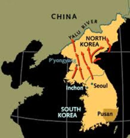 UN forces push North Korea to Yalu River- the border with China