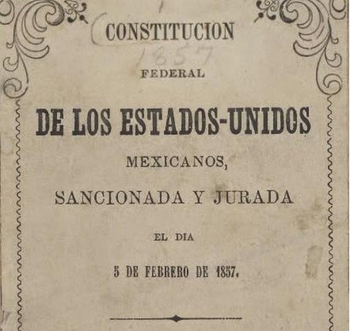 Expedición de una nueva constitución Federal en México (Año 1857)