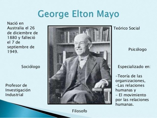 Teoría de las relaciones humanas ( George Elton Mayo)