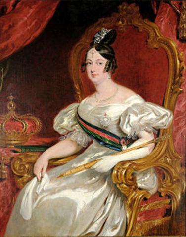 Abdicación de Pedro IV - Maria II, reina