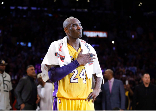 Kobe Bryant plays his final NBA game for the Los Angeles Lakers. Bryant, who played his entire 20-year career with the Lakers.