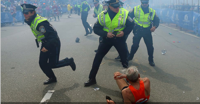 Two homemade bombs ripped through the crowd of fans and runners at the Boston Marathon finish line, killing three and wounding nearly 300 others.