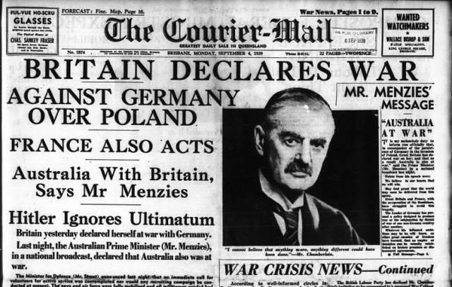Velika Britanija i Francuska objavljuju rat Nemackoj