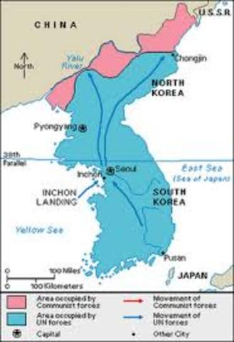 •UN forces push North Korea to Yalu River- the border with China