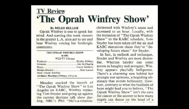 •The Oprah Winfrey Show First Airs (1986)