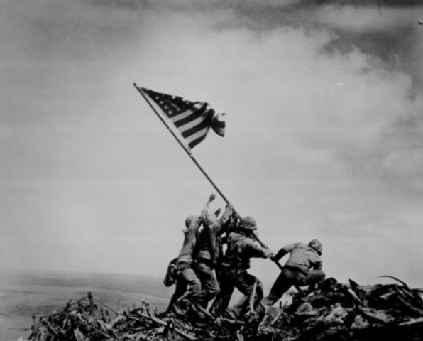 US flag raised on Mt. Suribachi