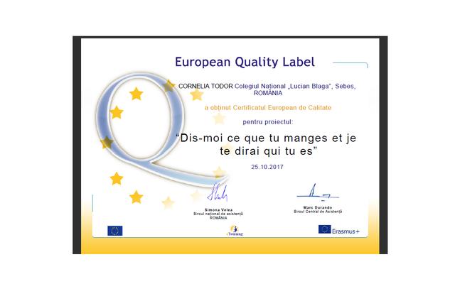 Certificat de Calitate European
